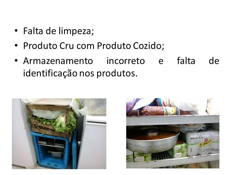 Falta de limpeza; Produto Cru com Produto Cozido; Armazenamento incorreto e falta de identificação nos produtos.