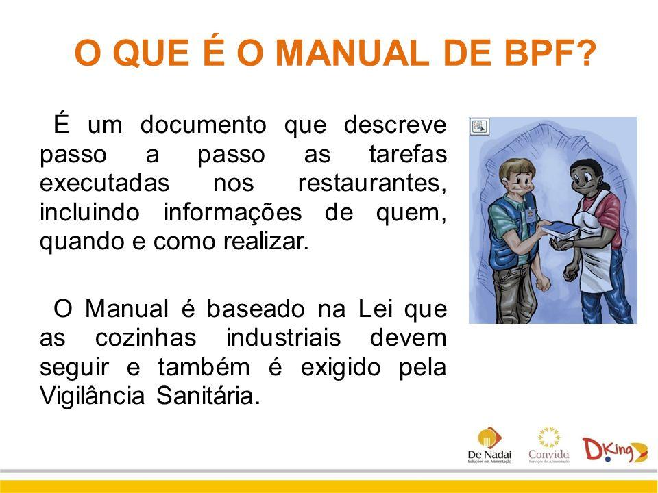 O QUE É O MANUAL DE BPF? É um documento que descreve passo a passo as tarefas executadas nos restaurantes, incluindo informações de quem, quando e com