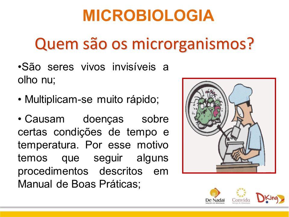 Quem são os microrganismos? São seres vivos invisíveis a olho nu; Multiplicam-se muito rápido; Causam doenças sobre certas condições de tempo e temper