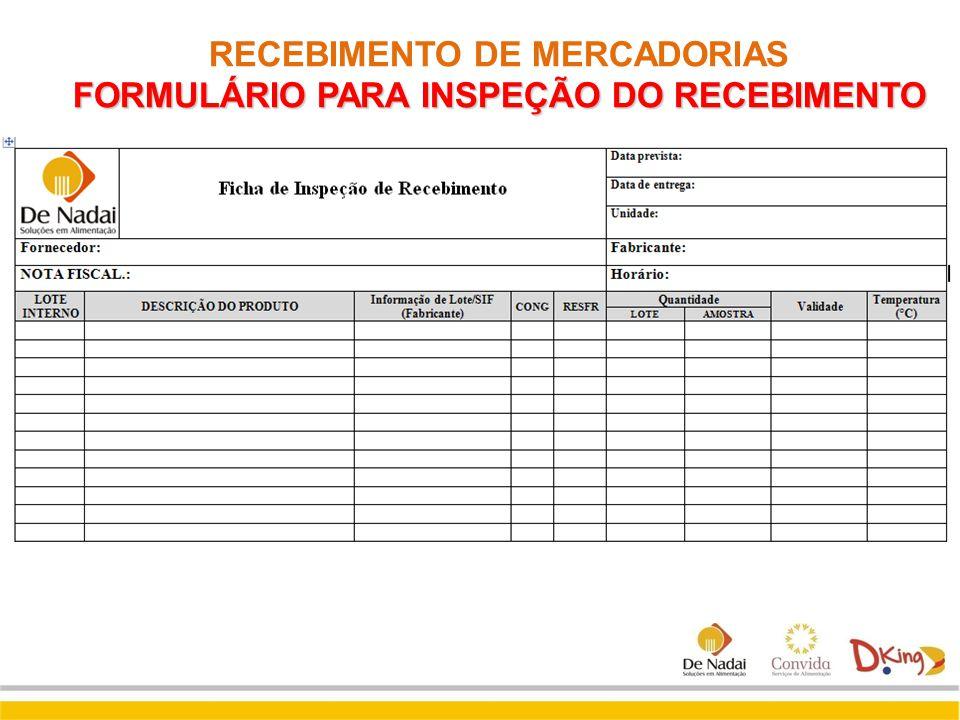 FORMULÁRIO PARA INSPEÇÃO DO RECEBIMENTO