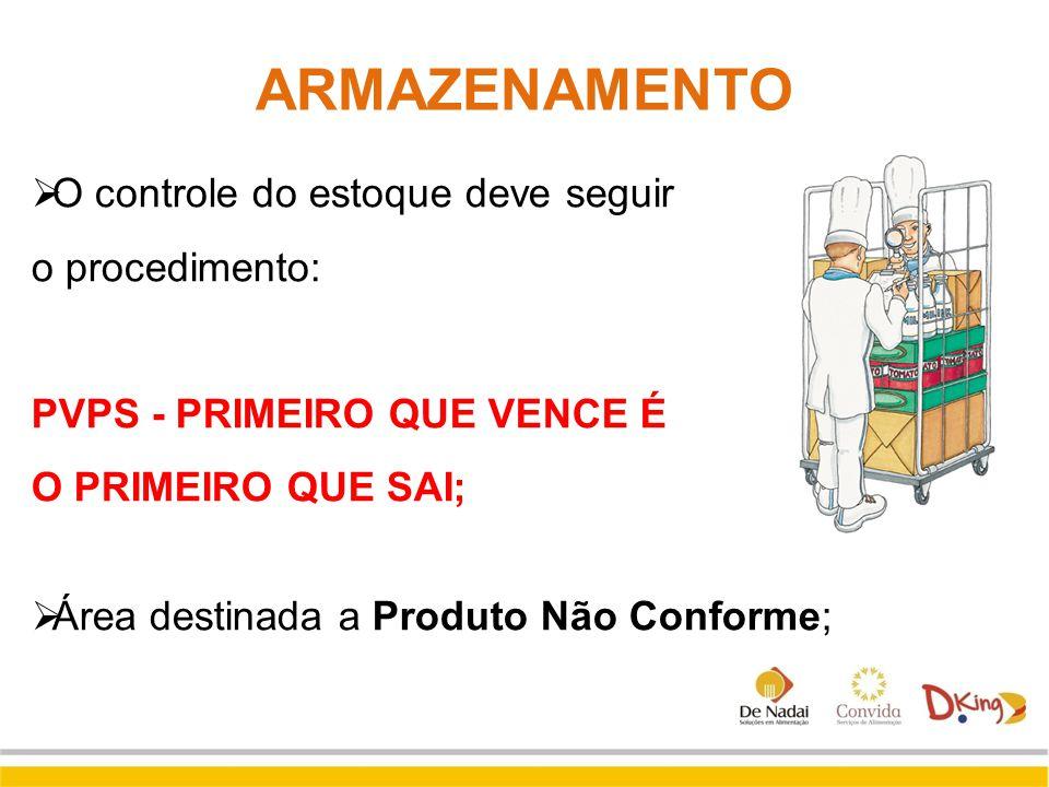  O controle do estoque deve seguir o procedimento: PVPS - PRIMEIRO QUE VENCE É O PRIMEIRO QUE SAI;  Área destinada a Produto Não Conforme; ARMAZENAM