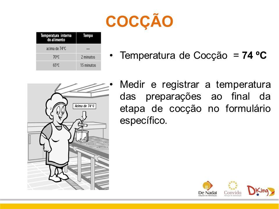 COCÇÃO Temperatura de Cocção = 74 ºC Medir e registrar a temperatura das preparações ao final da etapa de cocção no formulário específico.