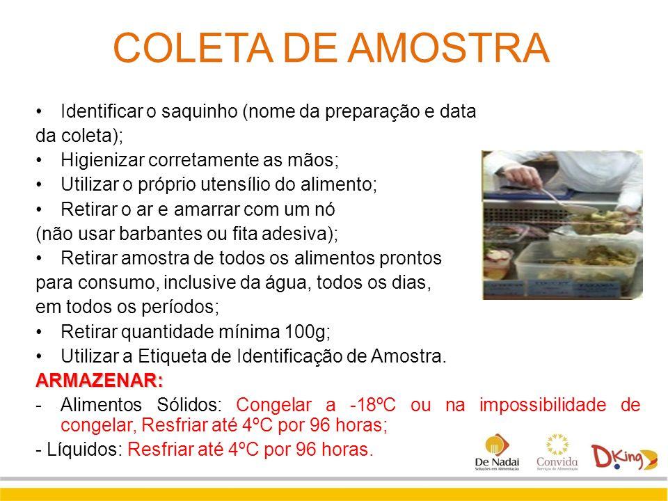 COLETA DE AMOSTRA Identificar o saquinho (nome da preparação e data da coleta); Higienizar corretamente as mãos; Utilizar o próprio utensílio do alime