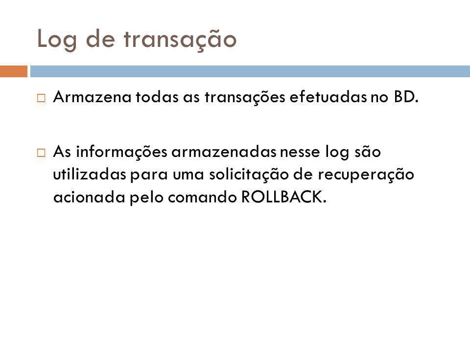 Log de transação  Armazena todas as transações efetuadas no BD.  As informações armazenadas nesse log são utilizadas para uma solicitação de recuper