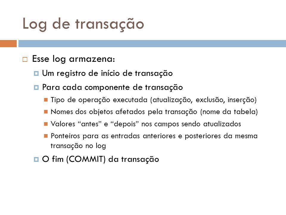 Log de transação  Esse log armazena:  Um registro de início de transação  Para cada componente de transação Tipo de operação executada (atualização