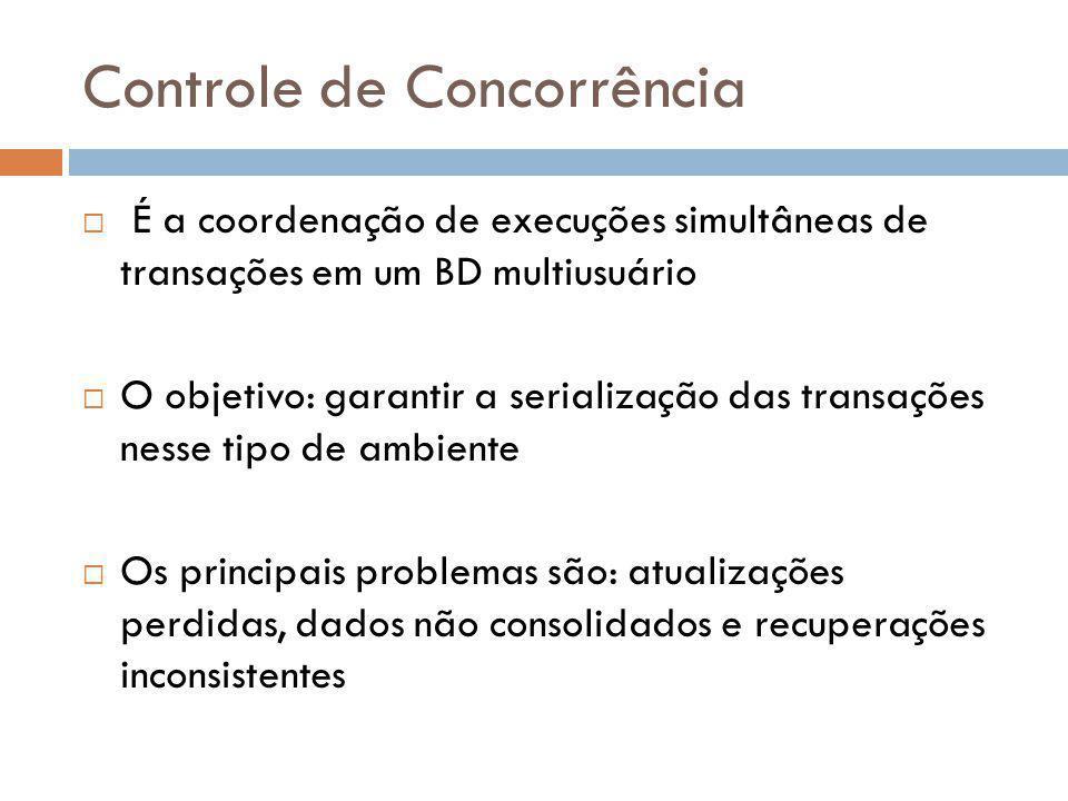 Controle de Concorrência  É a coordenação de execuções simultâneas de transações em um BD multiusuário  O objetivo: garantir a serialização das tran