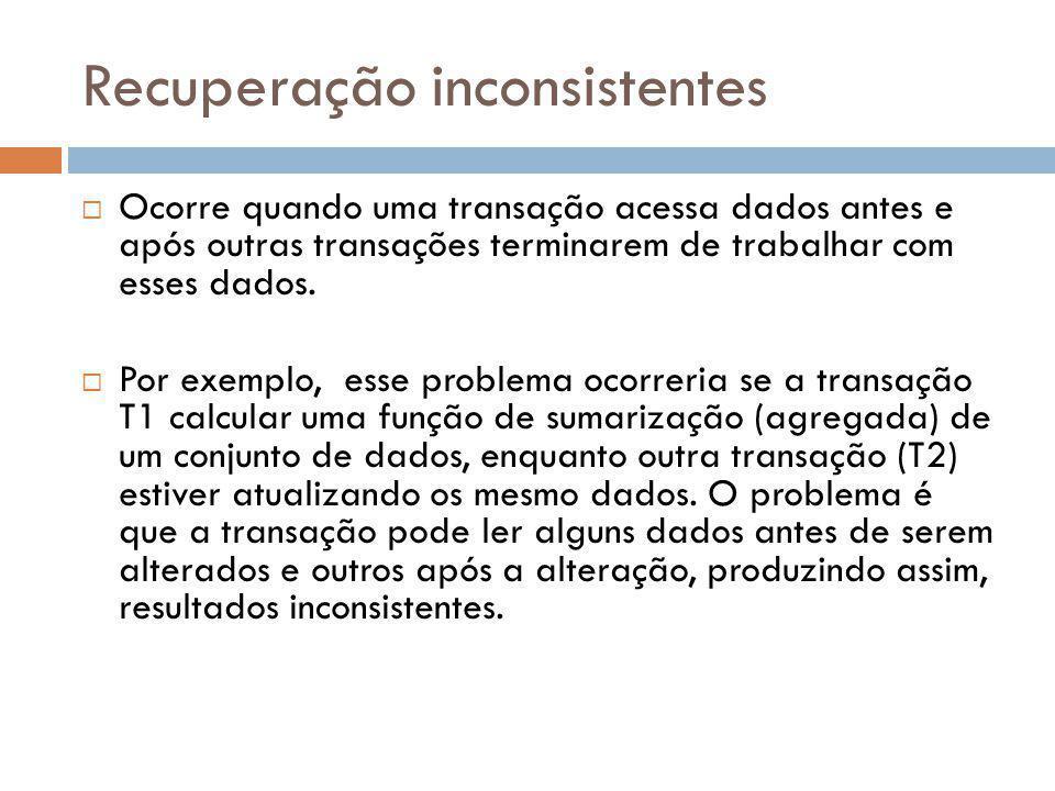 Recuperação inconsistentes  Ocorre quando uma transação acessa dados antes e após outras transações terminarem de trabalhar com esses dados.  Por ex