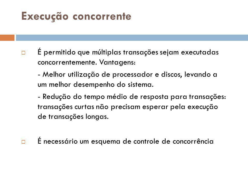 Execução concorrente  É permitido que múltiplas transações sejam executadas concorrentemente.