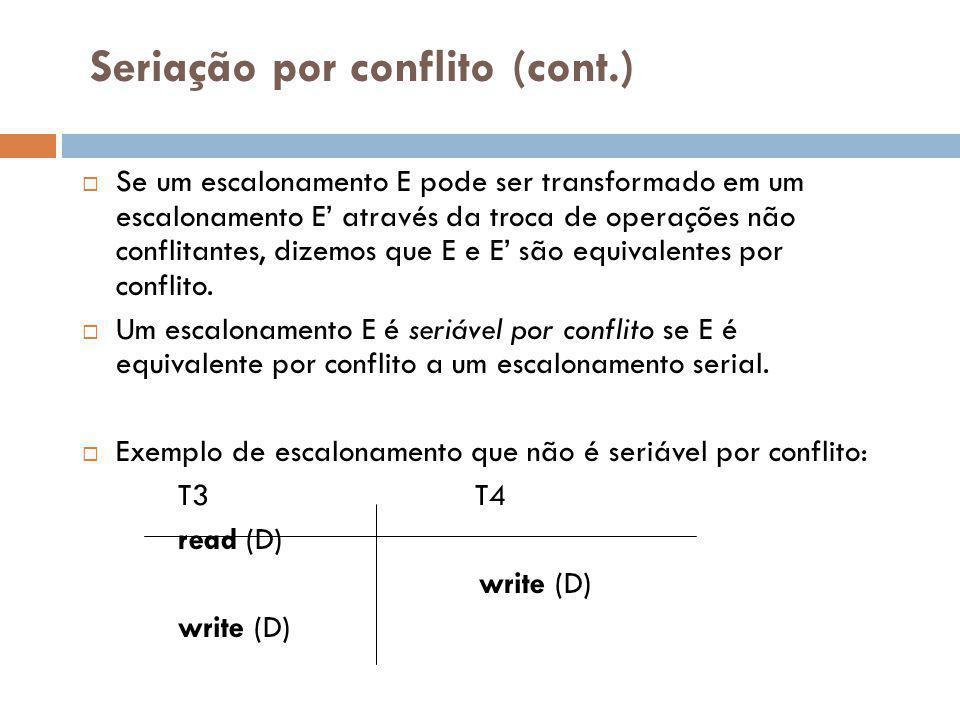 Seriação por conflito (cont.)  Se um escalonamento E pode ser transformado em um escalonamento E' através da troca de operações não conflitantes, dizemos que E e E' são equivalentes por conflito.