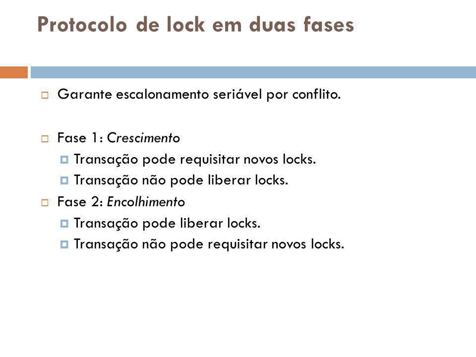 Protocolo de lock em duas fases  Garante escalonamento seriável por conflito.  Fase 1: Crescimento  Transação pode requisitar novos locks.  Transa