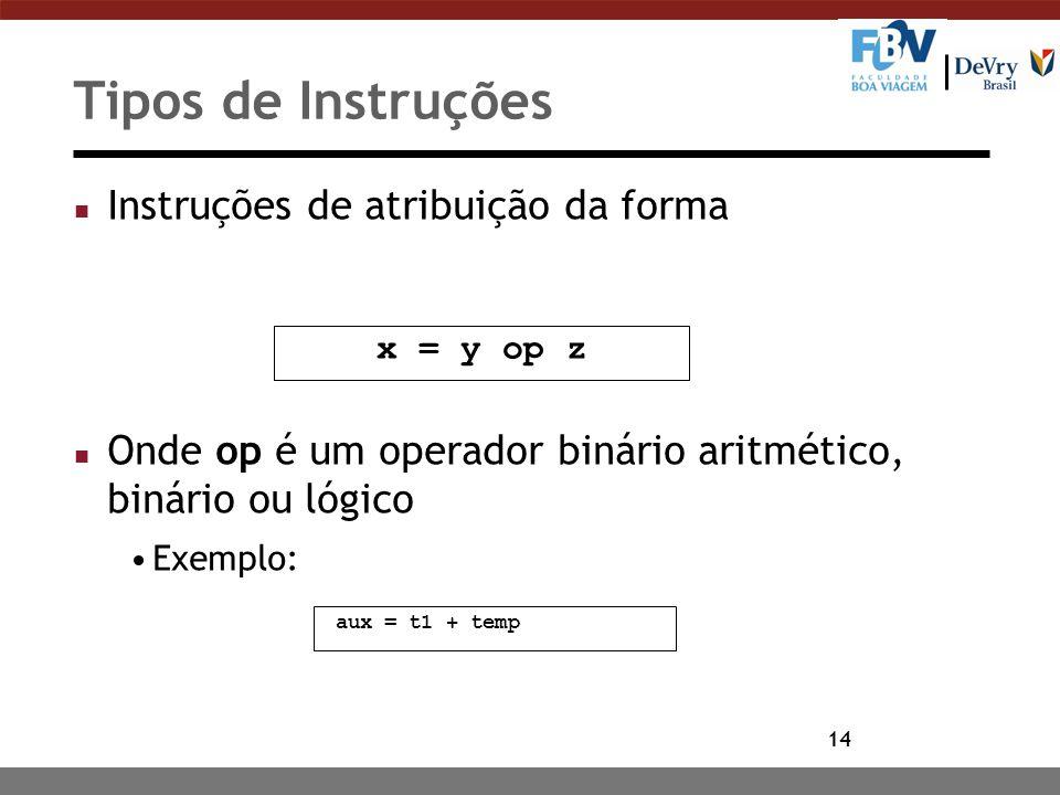 14 Tipos de Instruções n Instruções de atribuição da forma n Onde op é um operador binário aritmético, binário ou lógico Exemplo: x = y op z aux = t1