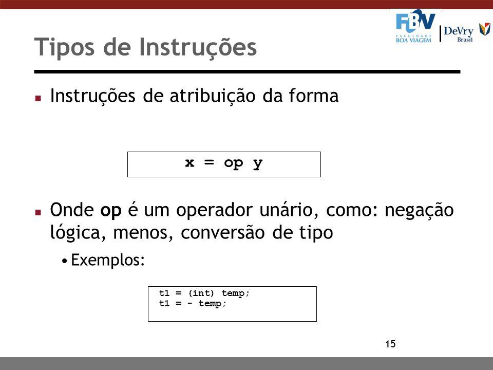 15 Tipos de Instruções n Instruções de atribuição da forma n Onde op é um operador unário, como: negação lógica, menos, conversão de tipo Exemplos: x