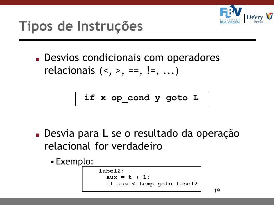 19 Tipos de Instruções n Desvios condicionais com operadores relacionais (, ==, !=,...) n Desvia para L se o resultado da operação relacional for verd