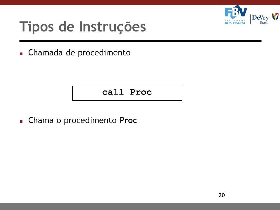 20 Tipos de Instruções n Chamada de procedimento n Chama o procedimento Proc call Proc