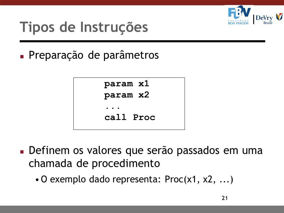 21 Tipos de Instruções n Preparação de parâmetros n Definem os valores que serão passados em uma chamada de procedimento O exemplo dado representa: Pr