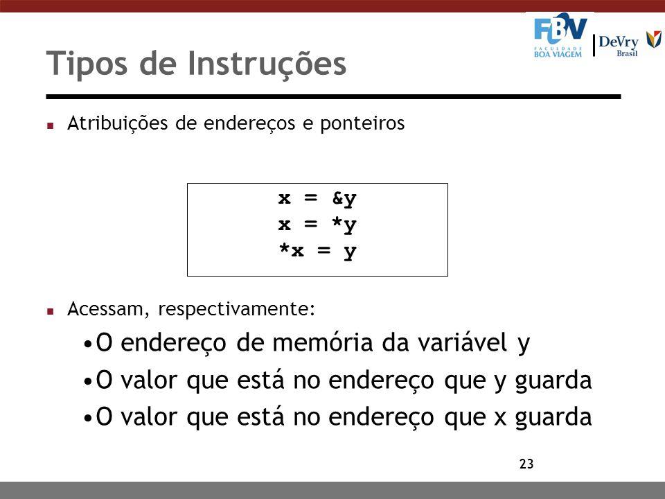 23 Tipos de Instruções n Atribuições de endereços e ponteiros n Acessam, respectivamente: O endereço de memória da variável y O valor que está no ende