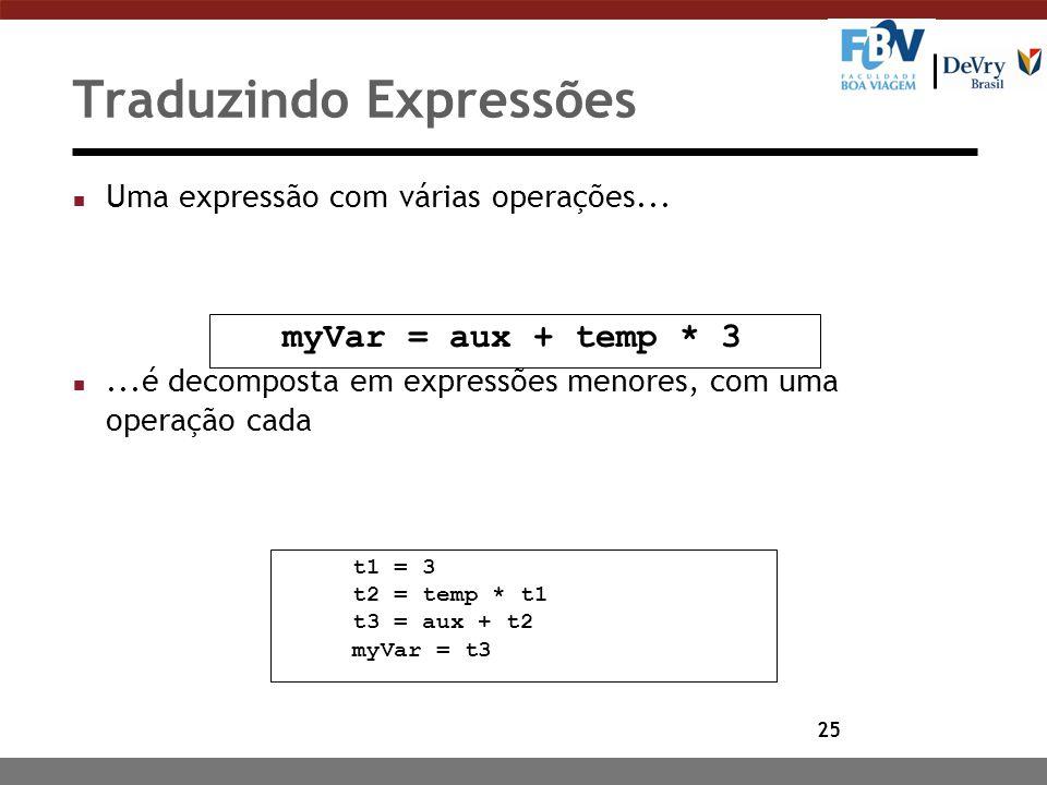 25 Traduzindo Expressões n Uma expressão com várias operações... n...é decomposta em expressões menores, com uma operação cada myVar = aux + temp * 3