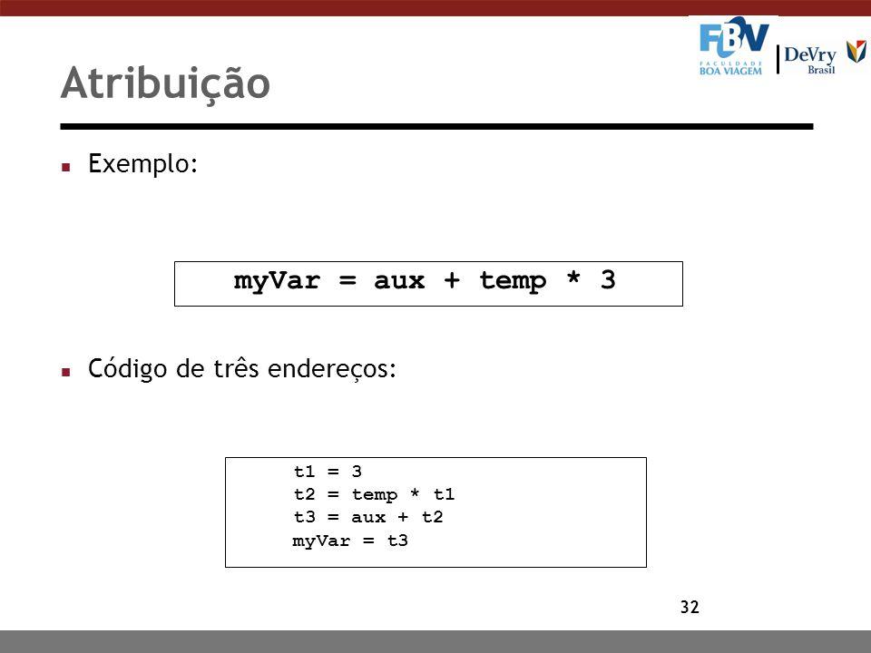32 Atribuição n Exemplo: n Código de três endereços: myVar = aux + temp * 3 t1 = 3 t2 = temp * t1 t3 = aux + t2 myVar = t3