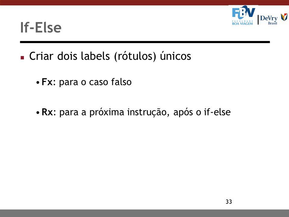 33 If-Else n Criar dois labels (rótulos) únicos Fx: para o caso falso Rx: para a próxima instrução, após o if-else