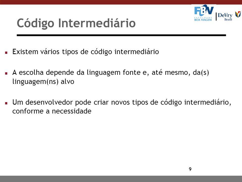 9 Código Intermediário n Existem vários tipos de código intermediário n A escolha depende da linguagem fonte e, até mesmo, da(s) linguagem(ns) alvo n