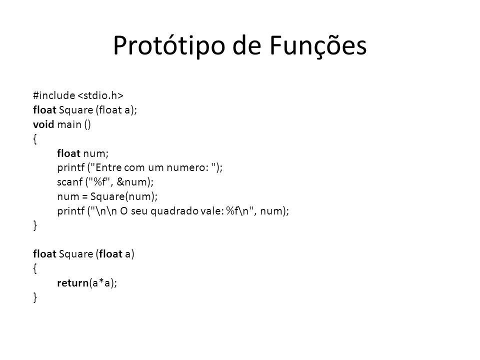Protótipo de Funções #include float Square (float a); void main () { float num; printf (