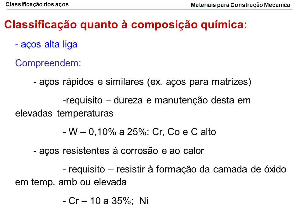 Materiais para Construção Mecânica Classificação dos aços Classificação quanto à composição química: - aços alta liga Compreendem: - aços rápidos e si