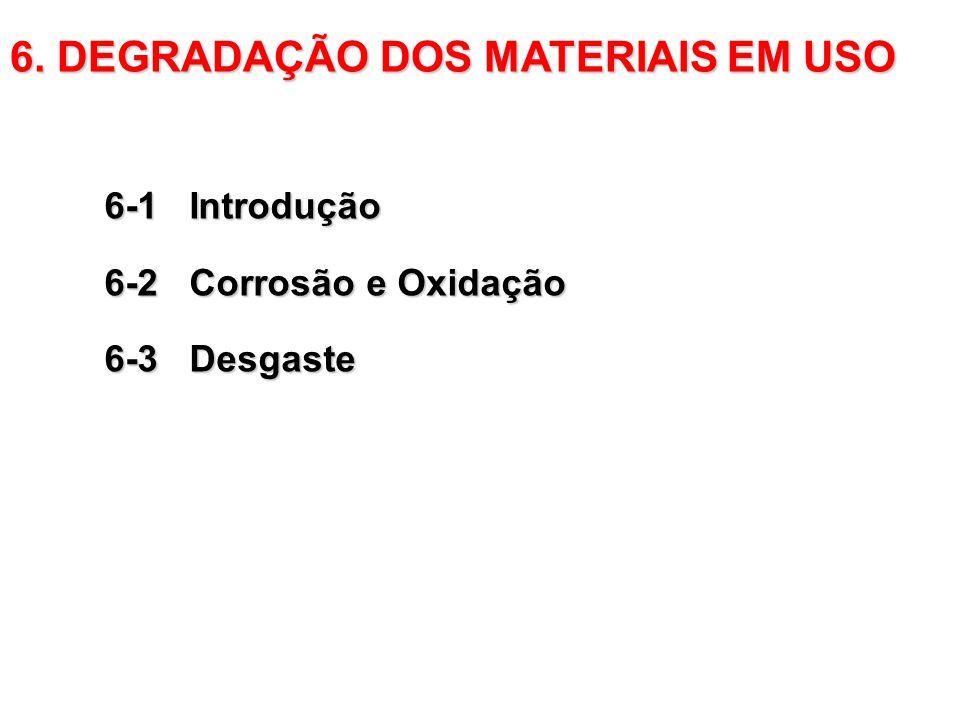 6-1 Introdução 6-2 Corrosão e Oxidação 6-3 Desgaste 6. DEGRADAÇÃO DOS MATERIAIS EM USO