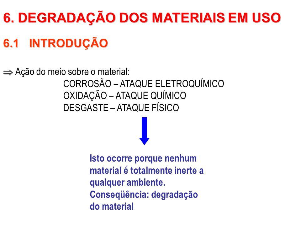 6.1 INTRODUÇÃO   Ação do meio sobre o material: CORROSÃO – ATAQUE ELETROQUÍMICO OXIDAÇÃO – ATAQUE QUÍMICO DESGASTE – ATAQUE FÍSICO 6. DEGRADAÇÃO DOS
