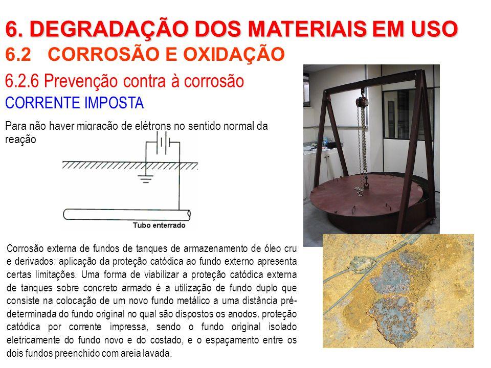 6.2 CORROSÃO E OXIDAÇÃO 6. DEGRADAÇÃO DOS MATERIAIS EM USO 6.2.6 Prevenção contra à corrosão CORRENTE IMPOSTA Para não haver migração de elétrons no s