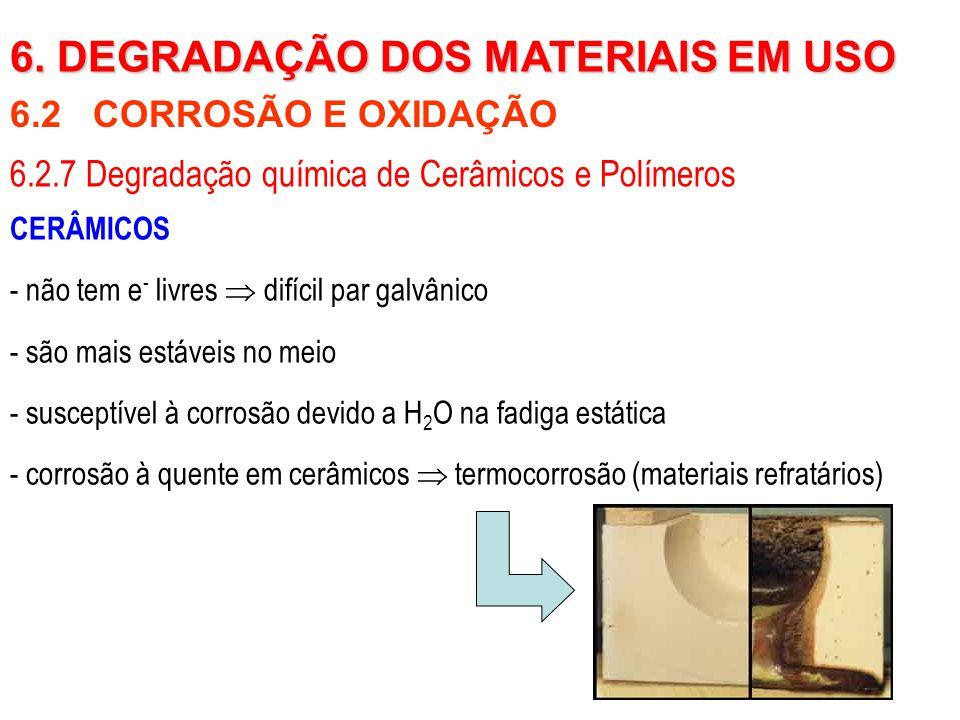 CERÂMICOS - não tem e - livres  difícil par galvânico - são mais estáveis no meio - susceptível à corrosão devido a H 2 O na fadiga estática - corros
