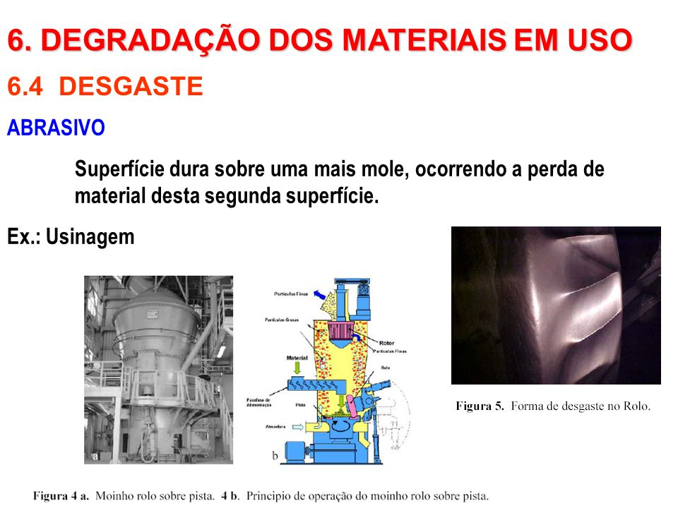 ABRASIVO Superfície dura sobre uma mais mole, ocorrendo a perda de material desta segunda superfície. Ex.: Usinagem 6.4 DESGASTE 6. DEGRADAÇÃO DOS MAT