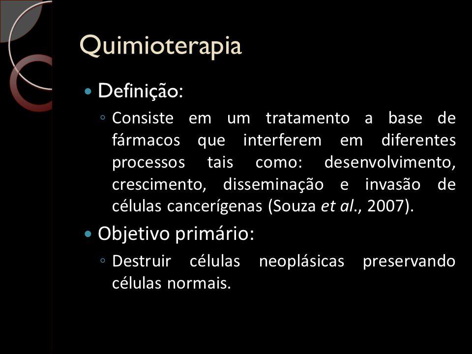 Quimioterapia Definição: ◦ Consiste em um tratamento a base de fármacos que interferem em diferentes processos tais como: desenvolvimento, crescimento