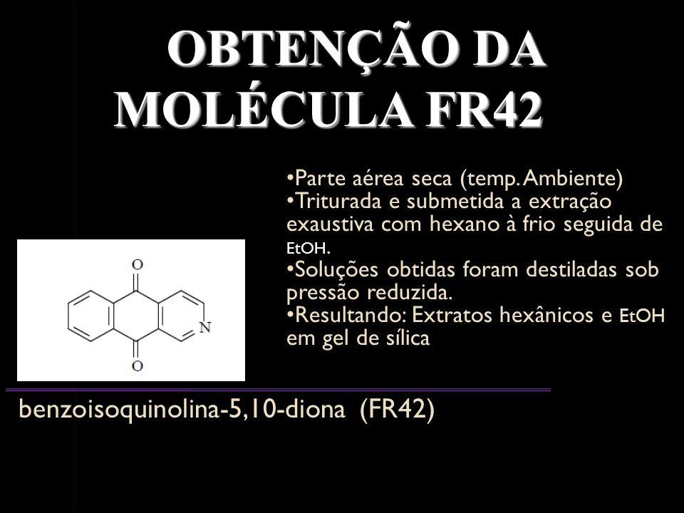 OBTENÇÃO DA MOLÉCULA FR42 benzoisoquinolina-5,10-diona (FR42) Parte aérea seca (temp. Ambiente) Parte aérea seca (temp. Ambiente) Triturada e submetid