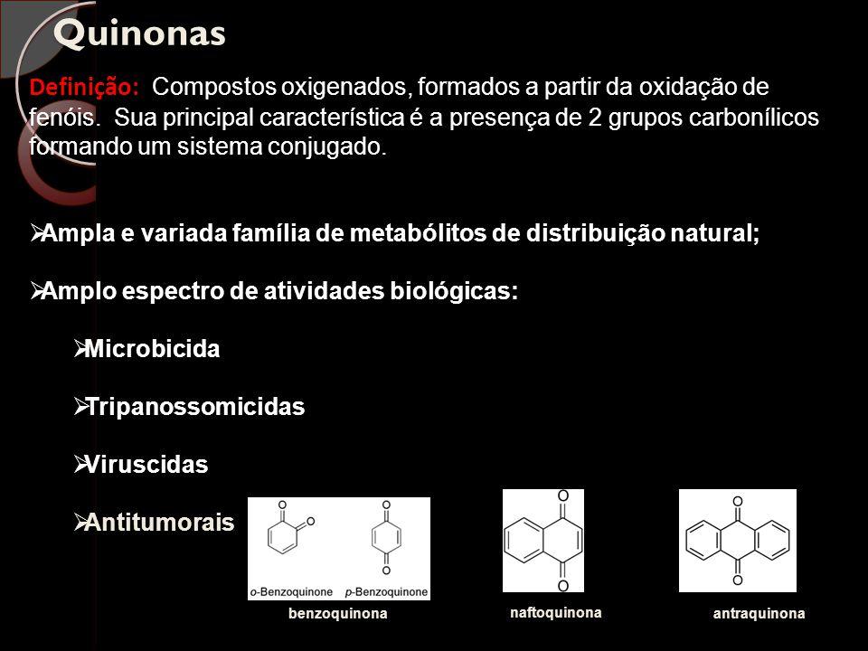 Quinonas Definição: Compostos oxigenados, formados a partir da oxidação de fenóis. Sua principal característica é a presença de 2 grupos carbonílicos