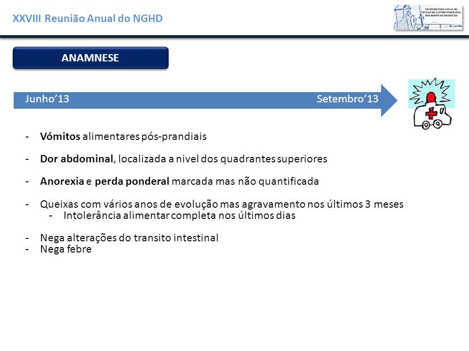 XXVIII Reunião Anual do NGHD ANAMNESE -Vómitos alimentares pós-prandiais -Dor abdominal, localizada a nivel dos quadrantes superiores -Anorexia e perd