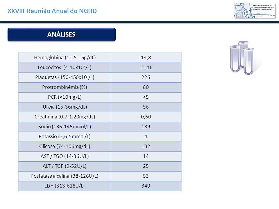XXVIII Reunião Anual do NGHD Hemoglobina (11.5-16g/dL)14,8 Leucócitos (4-10x10 9 /L)11,16 Plaquetas (150-450x10 9 /L)226 Protrombinémia (%)80 PCR (<10