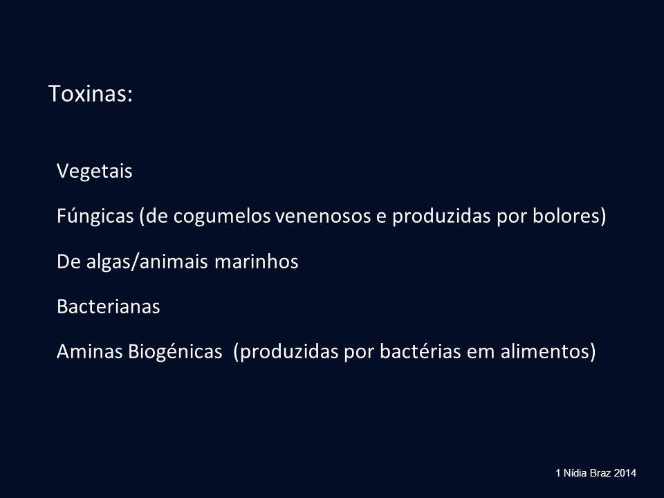 Toxinas: Vegetais Fúngicas (de cogumelos venenosos e produzidas por bolores) De algas/animais marinhos Bacterianas Aminas Biogénicas (produzidas por b