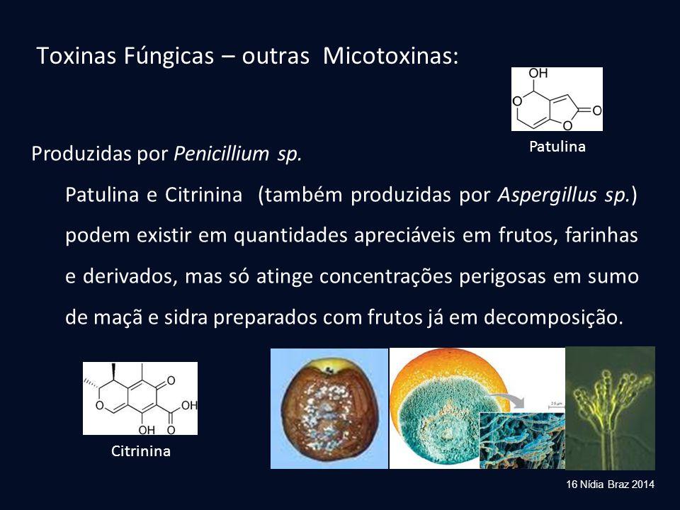 Produzidas por Penicillium sp. Patulina e Citrinina (também produzidas por Aspergillus sp.) podem existir em quantidades apreciáveis em frutos, farinh