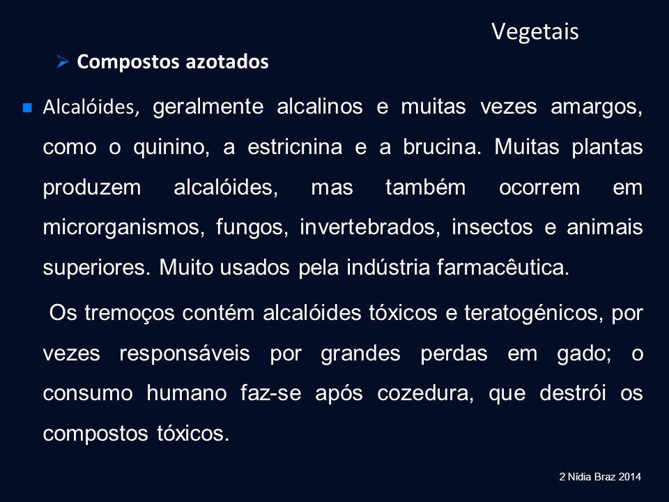 Vegetais  Compostos azotados Alcalóides, geralmente alcalinos e muitas vezes amargos, como o quinino, a estricnina e a brucina. Muitas plantas produz