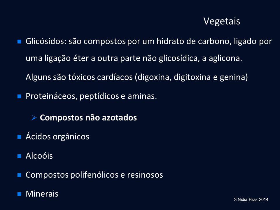 Vegetais Glicósidos: são compostos por um hidrato de carbono, ligado por uma ligação éter a outra parte não glicosídica, a aglicona. Alguns são tóxico