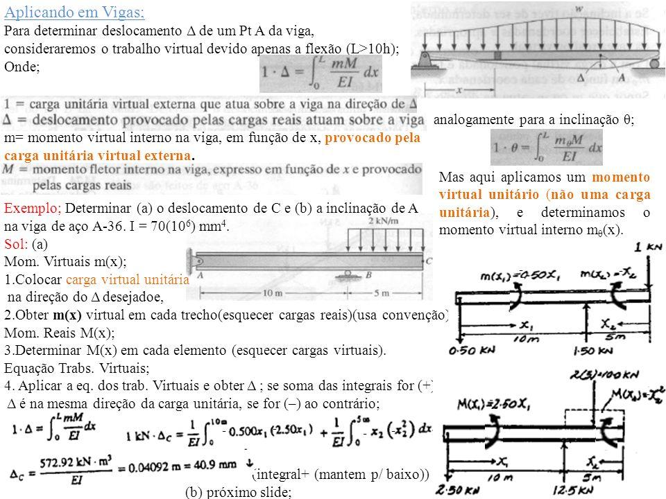 Aplicando em Vigas; Para determinar deslocamento Δ de um Pt A da viga, consideraremos o trabalho virtual devido apenas a flexão (L>10h); Onde; analoga