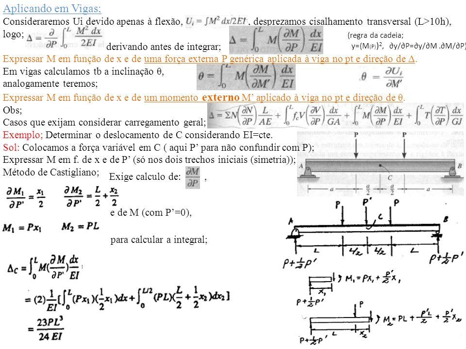 Aplicando em Vigas; Consideraremos Ui devido apenas à flexão,, desprezamos cisalhamento transversal (L>10h), logo; derivando antes de integrar; Expres