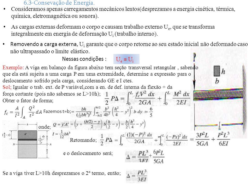 6.3-Consevação de Energia. Consideramos apenas carregamentos mecânicos lentos(desprezamos a energia cinética, térmica, química, eletromagnética ou son