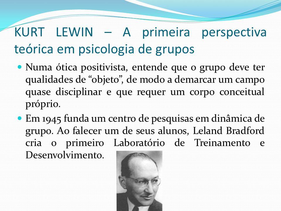 KURT LEWIN – A primeira perspectiva teórica em psicologia de grupos Numa ótica positivista, entende que o grupo deve ter qualidades de objeto , de modo a demarcar um campo quase disciplinar e que requer um corpo conceitual próprio.