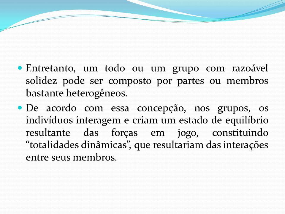 Entretanto, um todo ou um grupo com razoável solidez pode ser composto por partes ou membros bastante heterogêneos. De acordo com essa concepção, nos