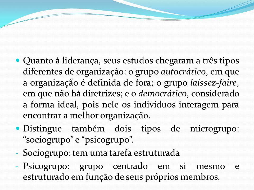 Quanto à liderança, seus estudos chegaram a três tipos diferentes de organização: o grupo autocrático, em que a organização é definida de fora; o grup