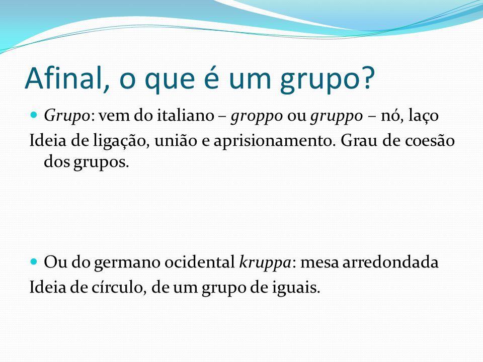 Afinal, o que é um grupo? Grupo: vem do italiano – groppo ou gruppo – nó, laço Ideia de ligação, união e aprisionamento. Grau de coesão dos grupos. Ou