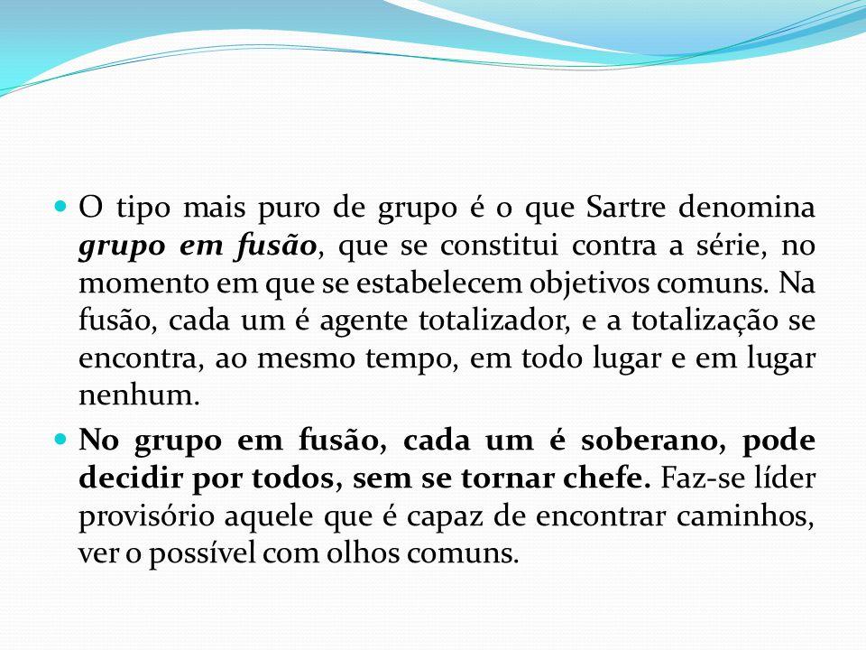 O tipo mais puro de grupo é o que Sartre denomina grupo em fusão, que se constitui contra a série, no momento em que se estabelecem objetivos comuns.