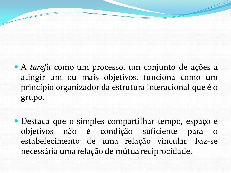 A tarefa como um processo, um conjunto de ações a atingir um ou mais objetivos, funciona como um princípio organizador da estrutura interacional que é o grupo.