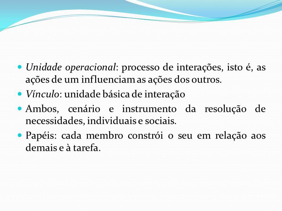Unidade operacional: processo de interações, isto é, as ações de um influenciam as ações dos outros. Vínculo: unidade básica de interação Ambos, cenár